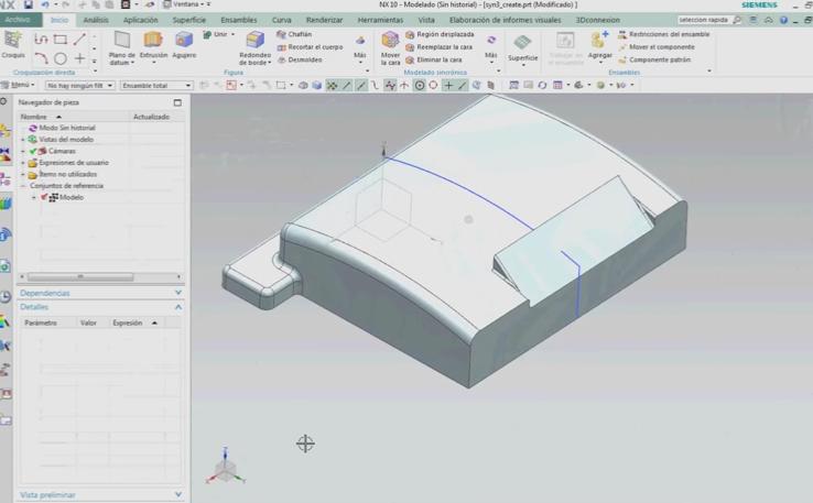 Modelado en NX con Synchronous Technology