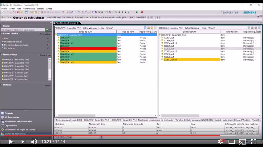 Gestor de Estructuras - Comparación de BOMs