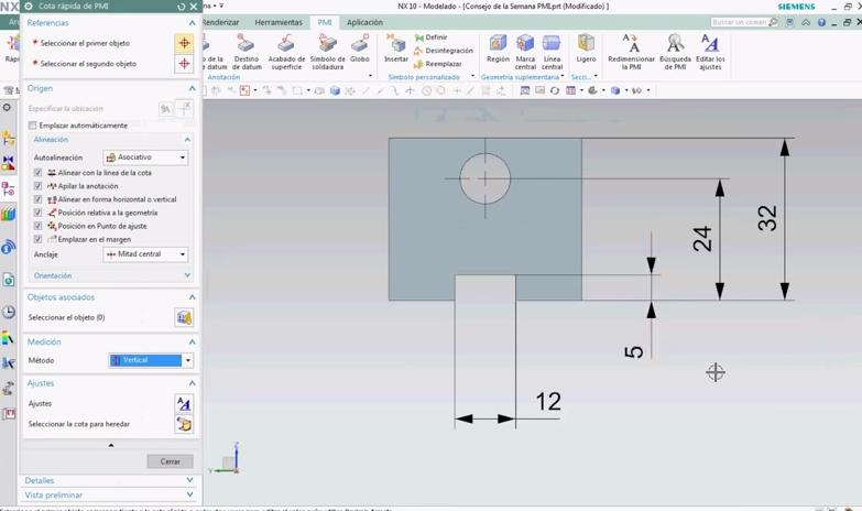 colocar cotas PMI en un modelo 3D