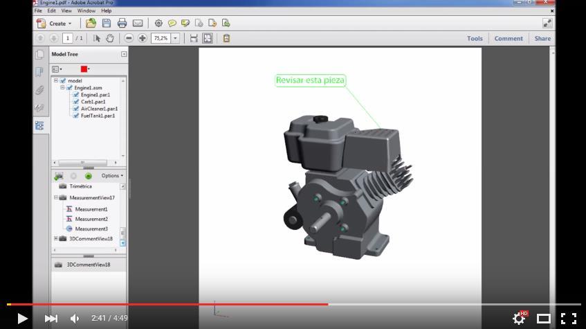 Visualice y envíe partes y ensambles en PDF 3D